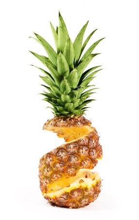 orange peel skin: Peel of pineapple isolated on white background Stock Photo