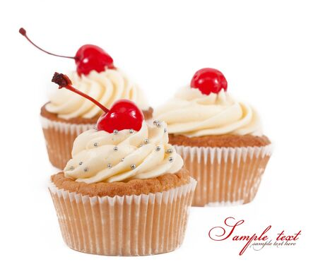 cup cakes: Delicious cake isolated on white background