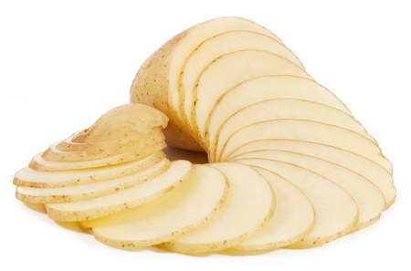 Potatoes cut into thin slices photo