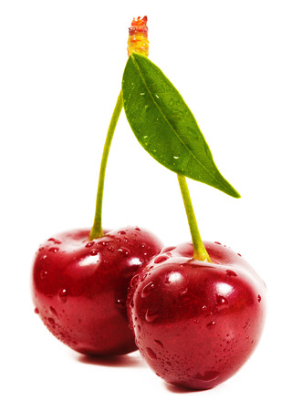 cherries isolated: Ripe cherries. isolated on a white background Stock Photo