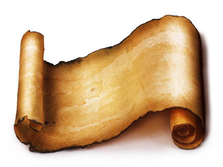 ancient scroll: Ancient scroll isolated on white background Stock Photo