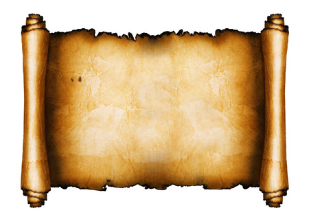 medieval scroll: Ancient scroll isolated on white background Stock Photo