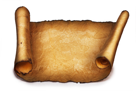 Ancient scroll isolated on white background photo