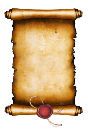 Ancient scroll isolated on white background Banque d'images