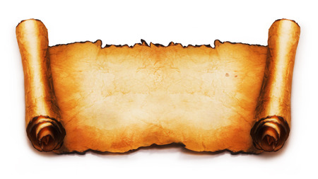 old fashioned: Ancient scroll isolated on white background Stock Photo