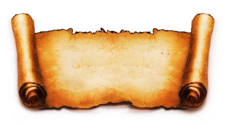 Oude scroll geïsoleerd op witte achtergrond Stockfoto