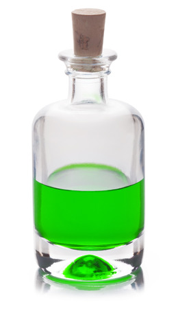 intoxicant: Poison in a glass flask isolated on a white background