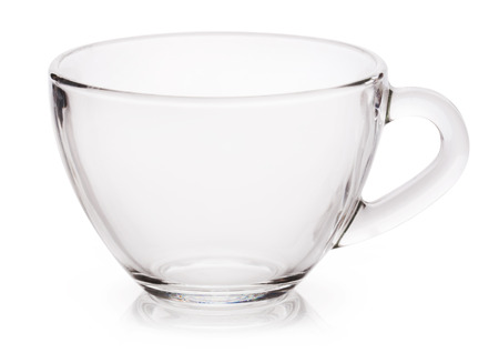 handle bars: Empty tea cup on white background