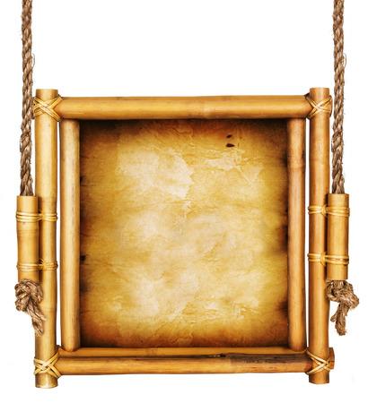 marco madera: Signo de bambú aislado en un fondo blanco Foto de archivo