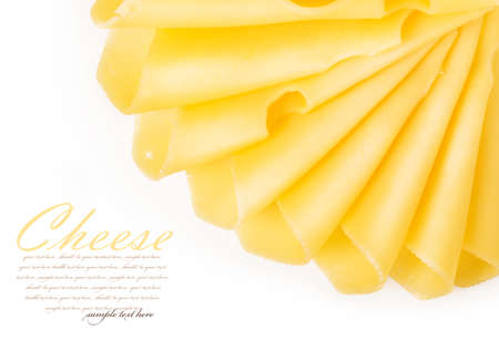 edam: Cheese slices isolated on white background