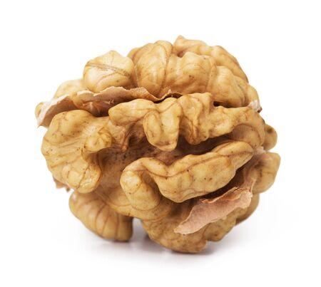 hard core: Walnut closeup isolated on white background Stock Photo