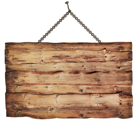 Holzschild auf wei?em Hintergrund isoliert Standard-Bild - 41109276