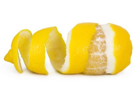 orange peel skin: lemon peel isolated on white background