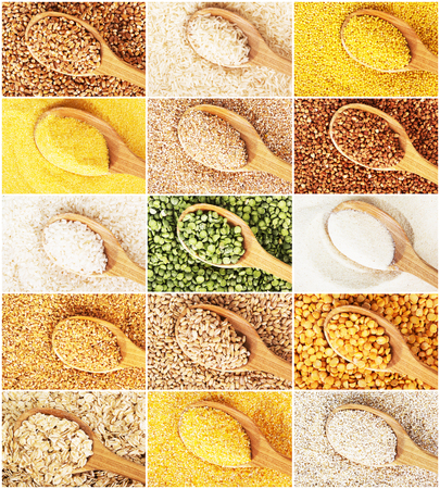millet: Collection of dry cereals on a wooden spoon