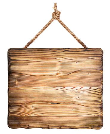 madera rústica: cartel de madera aislado en un fondo blanco Foto de archivo