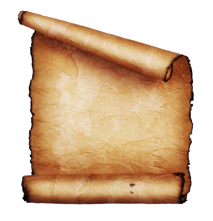 vellum: Ancient scroll isolated on white background Stock Photo