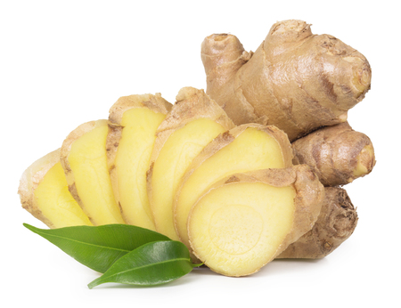 Fresh ginger isolated on a white background.