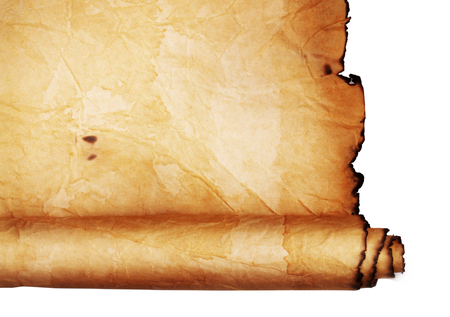 paper old: Ancient scroll isolated on white background Stock Photo