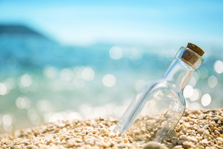 An empty bottle on the seashore