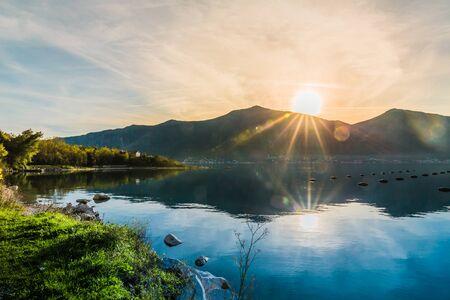 beautiful sunset on a mussel farm, Adriatic sea, Montenegro