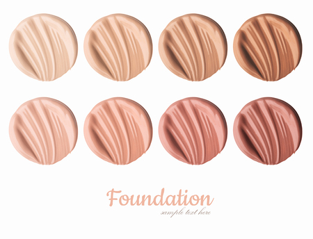 Smears of foundation for face.A smear of lipstick. Cosmetic smear of liquid. Isolated on white background