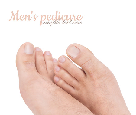 Beautiful well-groomed male legs. Male pedicure. Stock fotó