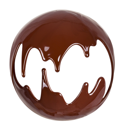 Melted chocolate syrup on white background.