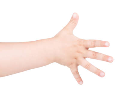 Child's hand showing gesture. The child's hand is open and showing five. Isolated on white background.