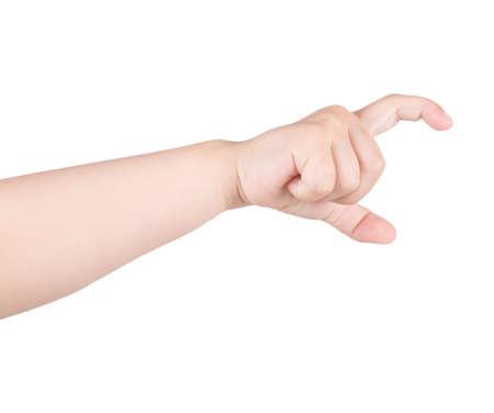 Main de l'enfant montrant le geste. La main de l'enfant tient quelque chose. Isolé sur fond blanc.