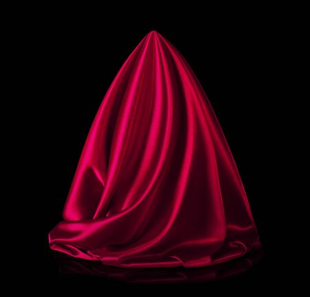 Satin red fabric on a black
