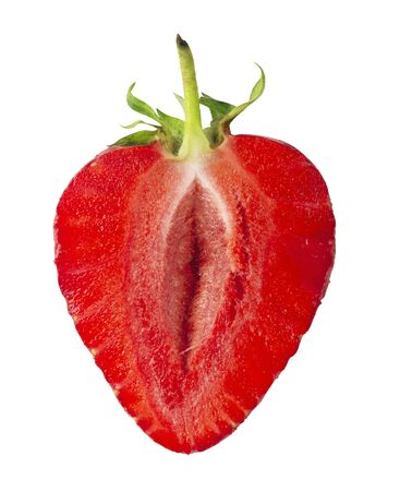Erotic strawberry fruit. Half a strawberry on a white background.