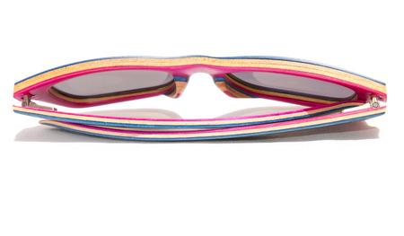 Wooden blue sunglasses. Isolated. Summer fashion style Stock Photo