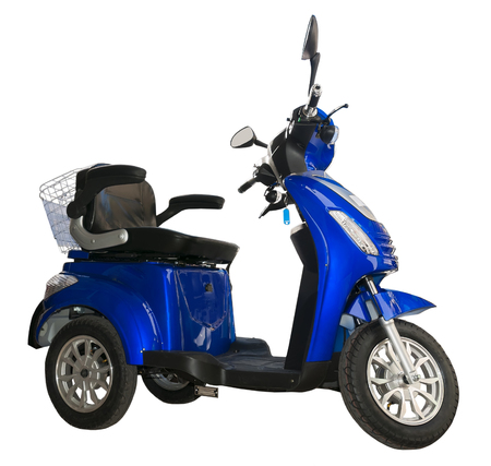 Side view of a blue, three wheel electric scooter with shopping basket and adjustable seat.