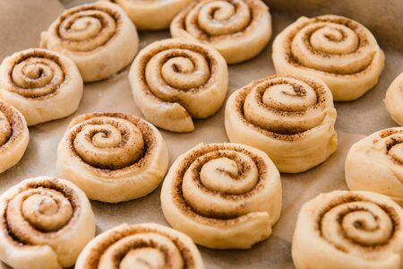 Fresh Cinnamon rolls raw homemade ready for baking in the oven