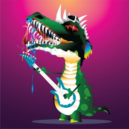 Illustration - Dinosaur The New Guitar Hero Stock Vector - 13918448