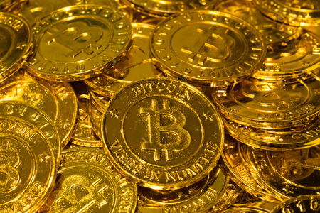Pile of golden bitcoin cypto digital currency financial industry
