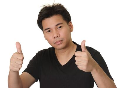 Asian Man Giving Thumb Up Sign