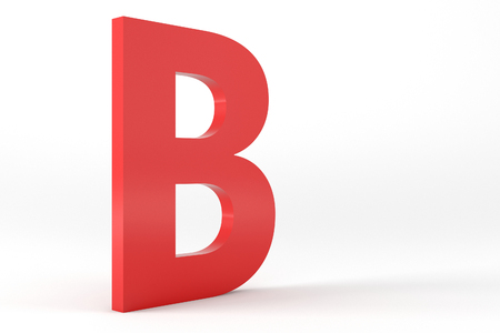 studio b: 3D Red Letter B Isolated White Background