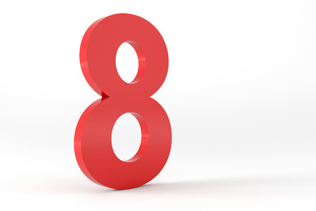 number 8: 3D Red Number 8 Isolated White Background Stock Photo