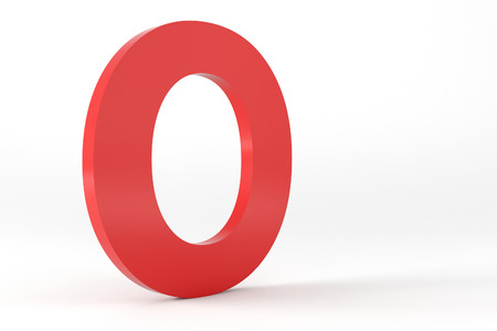 3D Red Letter O Isolated White Background Stok Fotoğraf