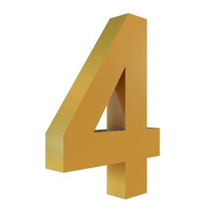 3D Gold Number 4  Isolated White Background Stok Fotoğraf