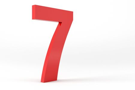number 7: 3D Red Number 7  Isolated White Background