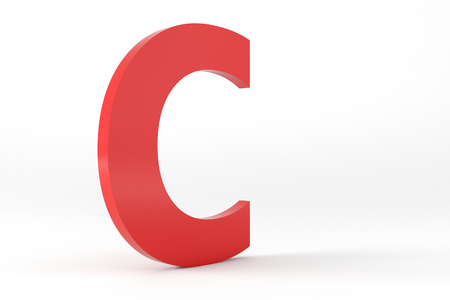 3D Red Letter C Isolated White Background Stok Fotoğraf