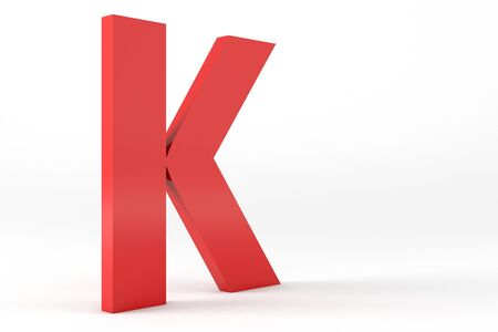 3D Red Letter K Isolated White Background Stok Fotoğraf