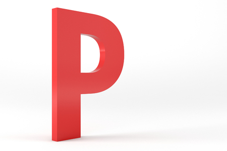3D Red Letter P Isolated White Background
