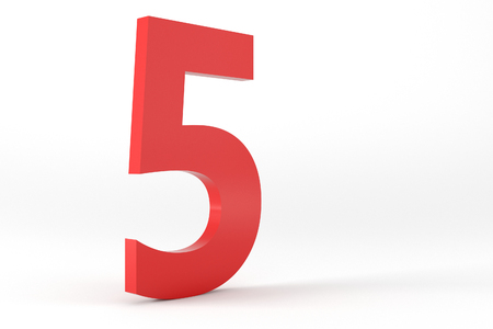 number 5: 3D Red Number 5 Isolated White Background Stock Photo