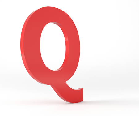 3D Red Letter Q Isolated White Background