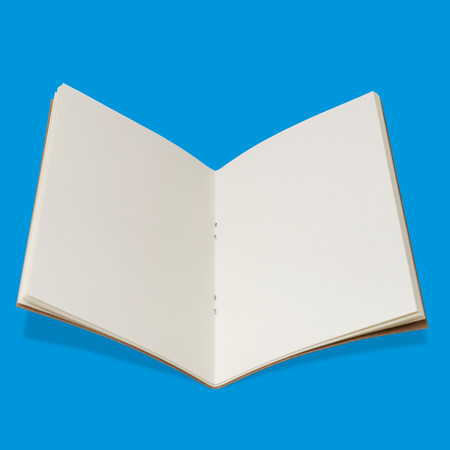 Isolated Opened Sketchbook on Blue Background