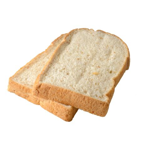 two slices of bread isolated on white background