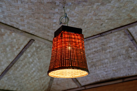 Thai Vintage Pendant Lights Bamboo Weaving Lamp